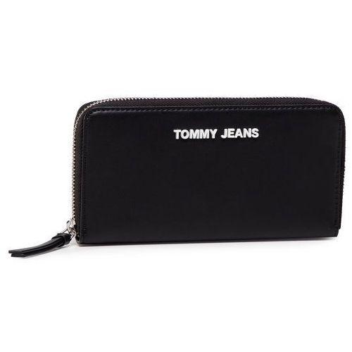 Duży portfel damski - tjw femme large z/a wallet aw0aw08247 blk of5 marki Tommy jeans