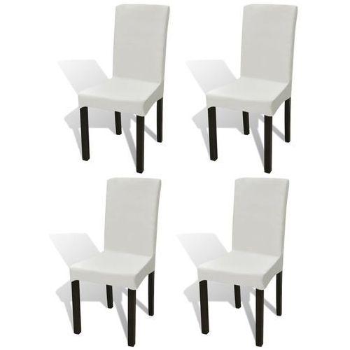 Elastyczne pokrowce na krzesło w prostym stylu kremowe 4 szt. marki Vidaxl