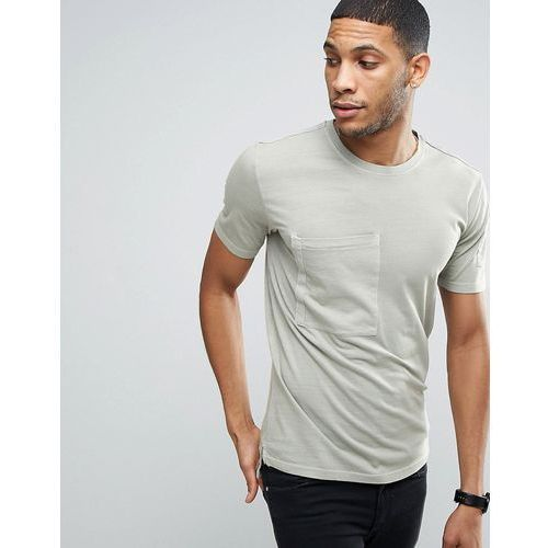 Only & sons  longline t-shirt with step back hem and pockets in organic cotton - green