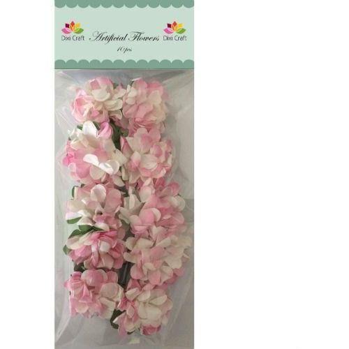 Creativehobby Ozdobne kwiatki z papieru 10 szt. - biało-różowe - biaróż