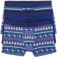 Bokserki z bożonarodzeniowym motywem (3 pary) niebiesko-biały z nadrukiem, Bonprix, M-XXXL