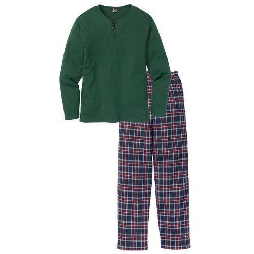 Piżama bonprix ciemnozielony w kratę, kolor zielony