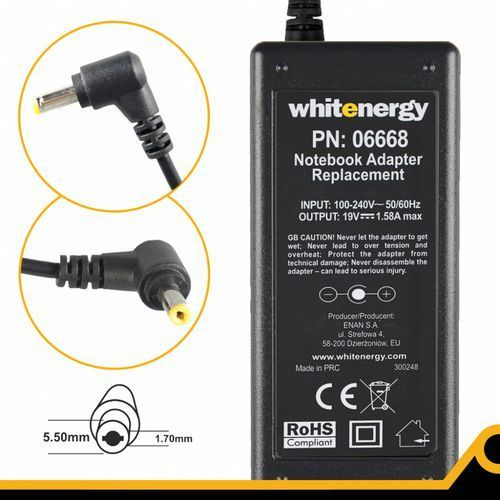 Whitenergy Zasilacz do notebooka ac 230v - 19v 1.58a wtyk ...