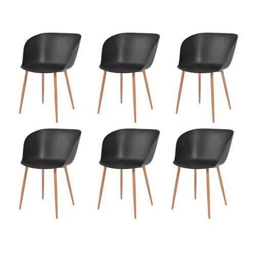 Komplet 6 krzeseł, czarne, plastikowe siedziska i stalowe nogi, kolor czarny