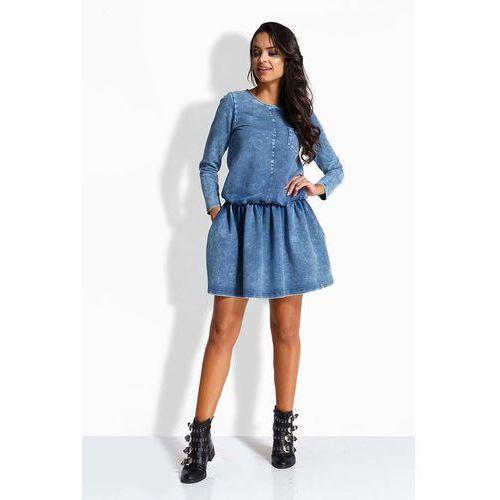Jeansowa Sukienka z Obniżonym Stanem, kolor niebieski