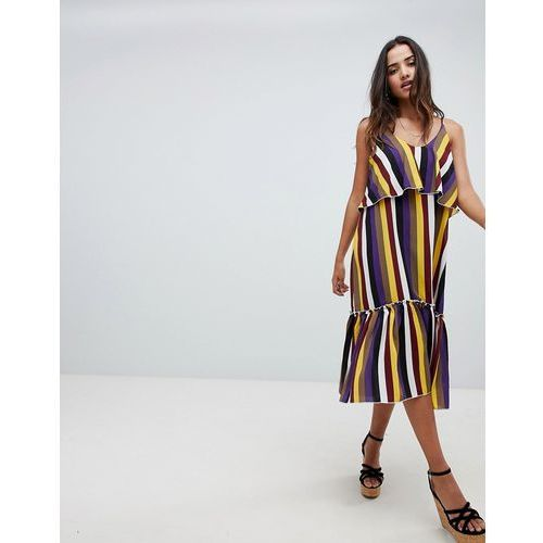 bold stripe ruffle hem midi dress - multi, Boohoo