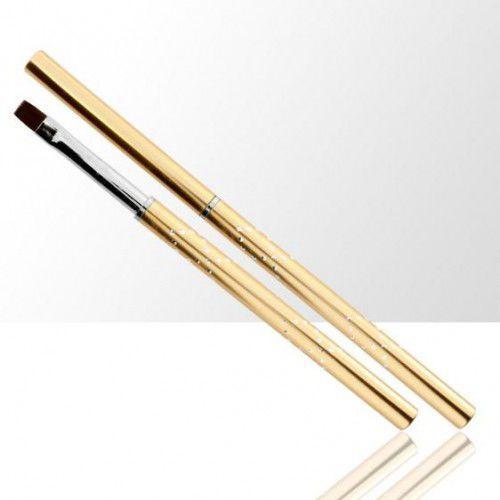 Pędzelek do żelu ze skuwką - nylonowe włosie - 8# - metalowy z cekinami - złoty marki Splendore
