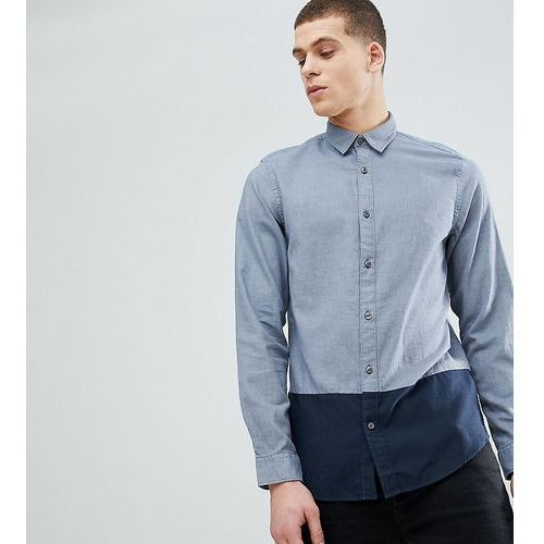 Selected homme tall regular shirt with colour block and contrast buttons - navy