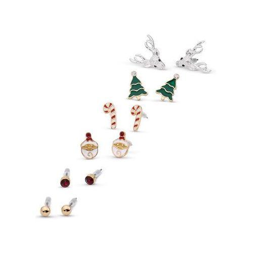 Kolczyki wkrętki bożonarodzeniowe (kompl. 6-częściowy) złoty kolor marki Bonprix