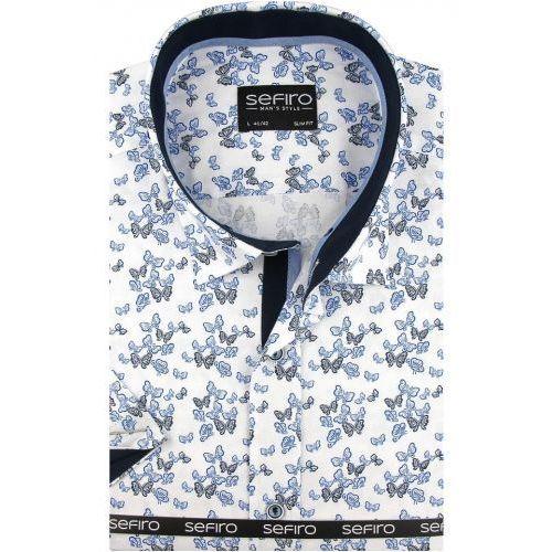 a9bf9cee537083 Sefiro Koszula męska biała w niebieskie motylki slim fit na krótki rękaw  k763