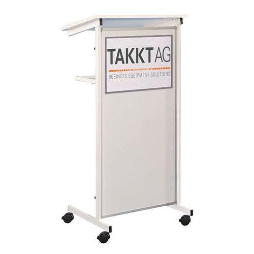 Pulpit mówcy, 2 półki, front z blachy stalowej, biały. Idealny do prezentacji, k