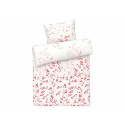 pościel satynowa z lyocellem (tencel™), 140 x 200 cm (kwiaty/różowy) marki Meradiso®