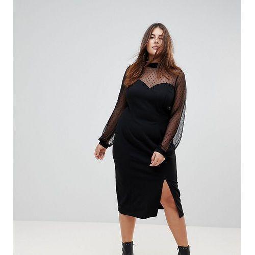 ASOS CURVE Long Sleeve Dobby Mesh Sweetheart Neck Midi Dress - Black, kolor czarny