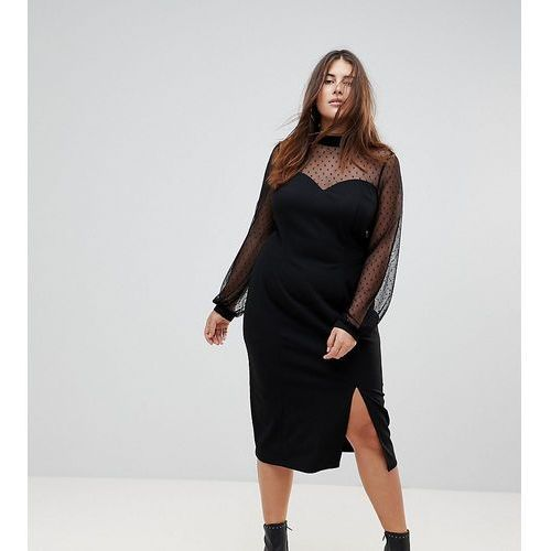 long sleeve dobby mesh sweetheart neck midi dress - black, Asos curve