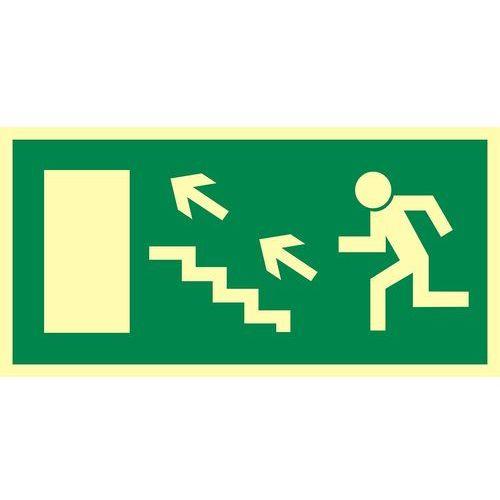 Kierunek do wyjścia drogi ewakuacyjnej schodami w górę w lewo (znak uzupełniający) - OKAZJE