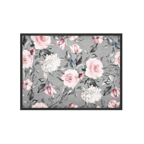 Wycieraczka w kwiatowy wzór szaro-jasnoróżowy marki Bonprix