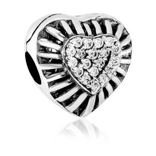 Murrano Charms koralik klips srebrny promieniste serce
