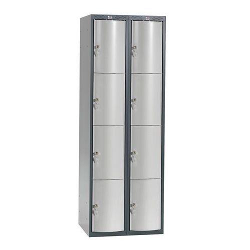 Metalowa szafa ubraniowa curve, 2x4 drzwi, 1740x600x550 mm, szary marki Aj produkty