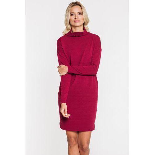 Bordowa sukienka z kieszeniami - Tova, kolor czerwony