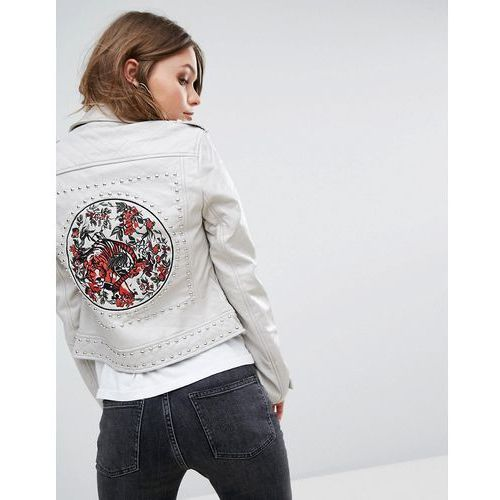 River island  leather look biker jacket with back embroiderey - beige