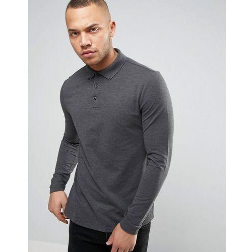 Asos  polo shirt in grey pique with button down collar in grey - grey