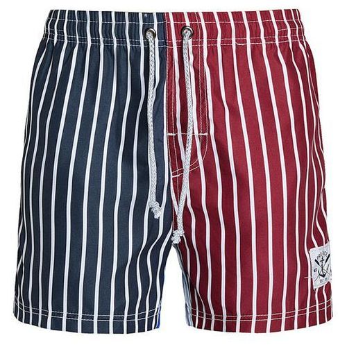 Rosewholesale Straight leg drawstring color block splicing vertical stripes print men's board shorts
