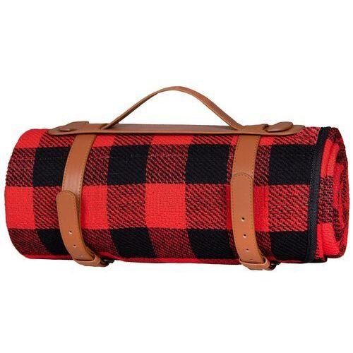 Koc piknikowy plażowy 200x150 cm mata retro czerwono-czarna krata (5907719417950)