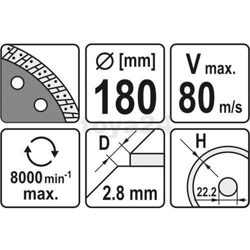 Tarcza diamentowa, segment turbo 180 mm Yato YT-6024 - ZYSKAJ RABAT 30 ZŁ (5906083960246)