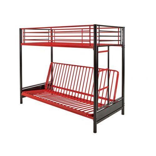 Łóżko antresola modulo iv - 90 × 190 cm - czarny i czerwony marki Vente-unique