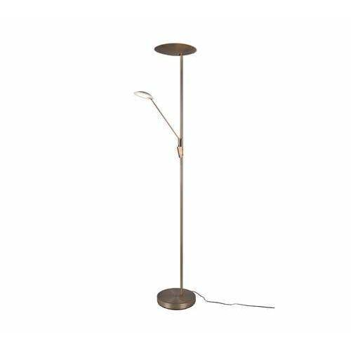 Trio edmonton 423010204 lampa stojąca podłogowa 1x33w+1x7,5w led brązowa