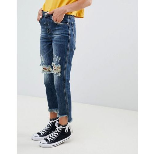 ripped knee boyfriend jeans - blue, Glamorous, 34-40