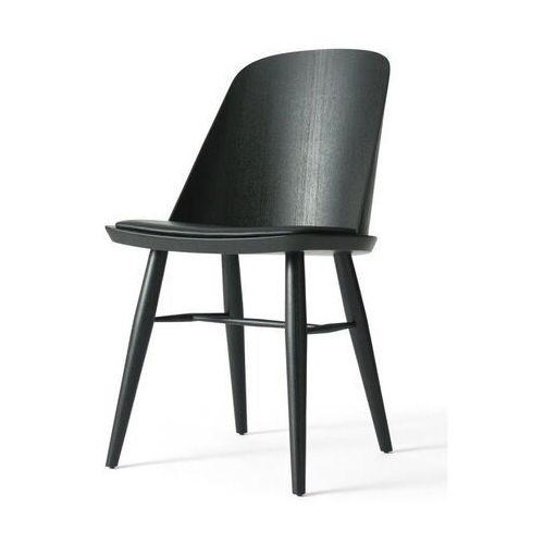 - krzesło synnes ze skórzanym siedziskiem - jesion czarny marki Menu