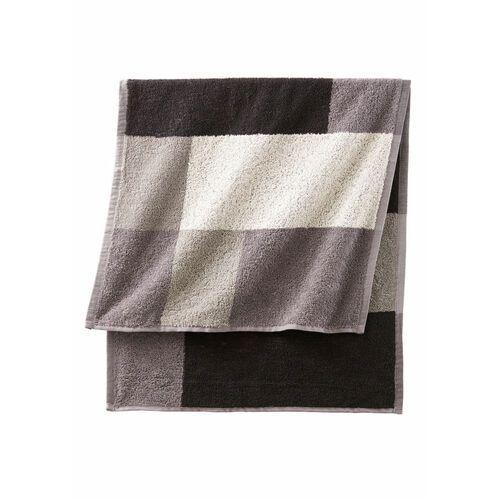 Bonprix Ręczniki z nadrukiem w kolorowe kwadraty czarno-biało-szary
