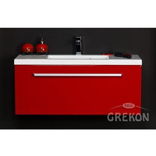 Czerwona szafka wisząca z umywalką 100/39 seria Fokus CZ