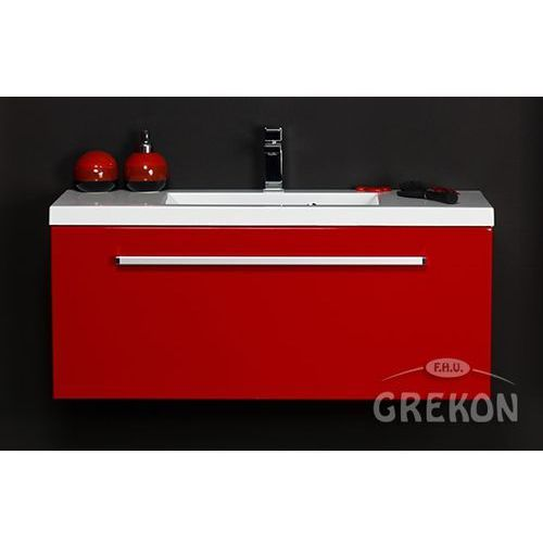 Gante Czerwona szafka wisząca z umywalką 100/39 seria fokus cz