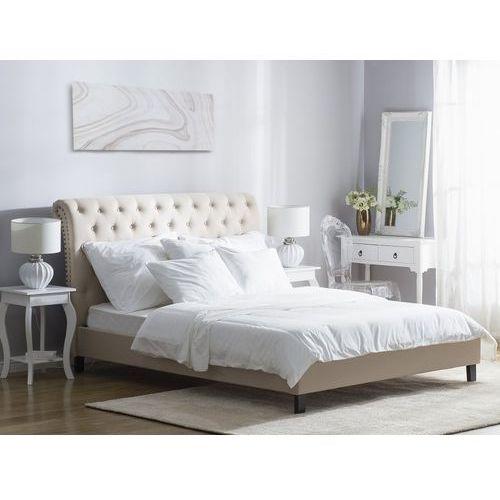 Łóżko beżowe - 160x200 cm - łóżko tapicerowane - stelaż - REIMS