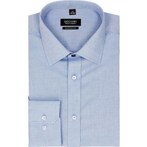 koszula bexley 2296 długi rękaw custom fit niebieski, kolor niebieski