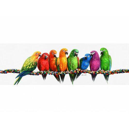 Vente-unique Obraz olejny parrot ręcznie malowany, motyw papugi – 45 × 140 cm – wielokolorowy