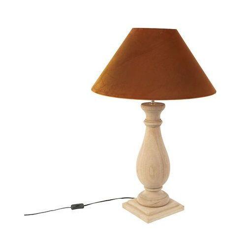 Wiejska lampa stołowa z pomarańczowym welurem - łopian marki Qazqa