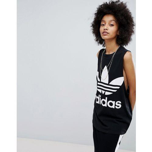 Adidas Originals adicolor big trefoil tank top in black - Black