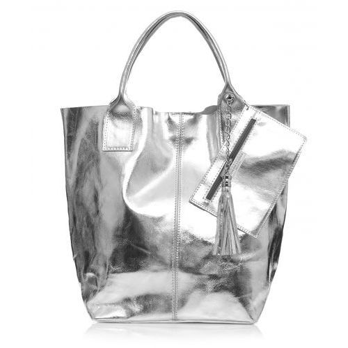 Torebki skórzane shopper bagi lakierowane srebrna (kolory) marki Genuine leather