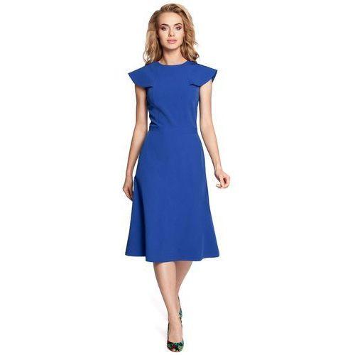 Chabrowa Wizytowa Midi Sukienka z Falbanką przy Dekolcie, kolor niebieski