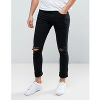 New Look Skinny Jeans With Knee Rips In Black - Black, jeansy