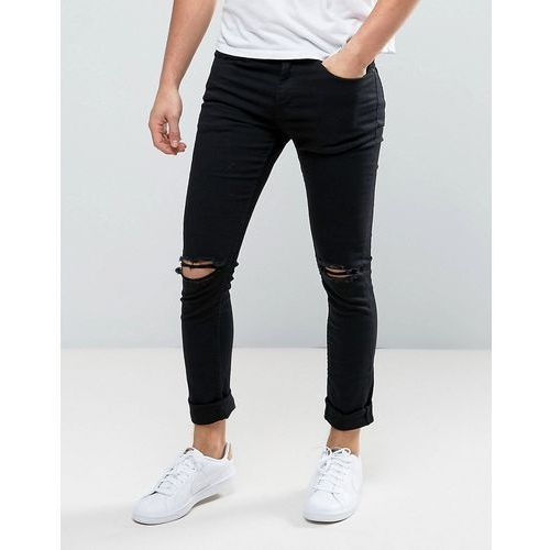 skinny jeans with knee rips in black - black marki New look