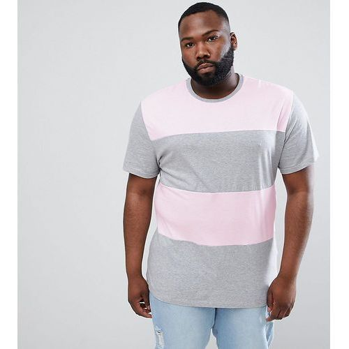 design plus relaxed longline t-shirt with colour block in pink/ grey - pink, Asos, XXXL-XXXXL