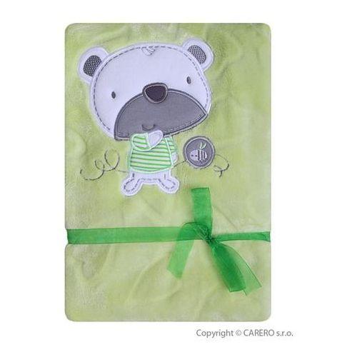 Koala Kocyk dla dzieci  serduszka zielony z misiem
