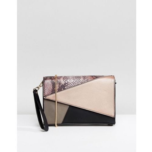 Nali pink patchwork envelope clutch bag - pink