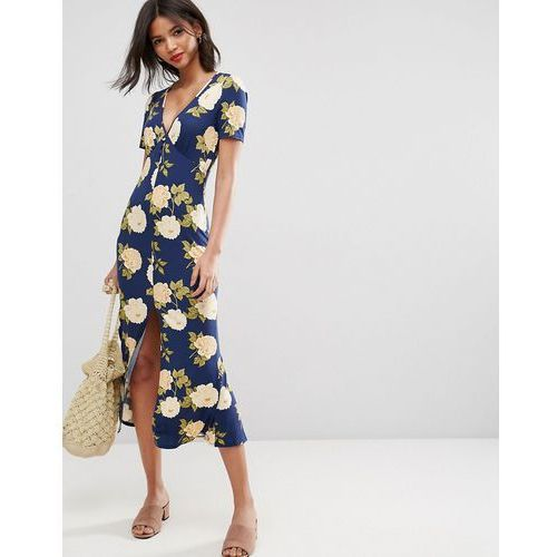 ASOS City Maxi Tea Dress with V Neck and Button Detail in Blue Floral Print - Multi