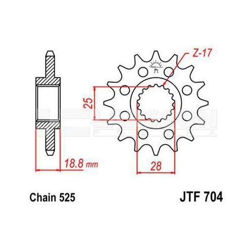 Zębatka przednia jt f704-17, 17z, rozmiar 525 2200777 aprilia rsv 1000, etv 1000 marki Jt sprockets