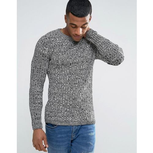 River island  jumper with ribbed knit in black marl - black